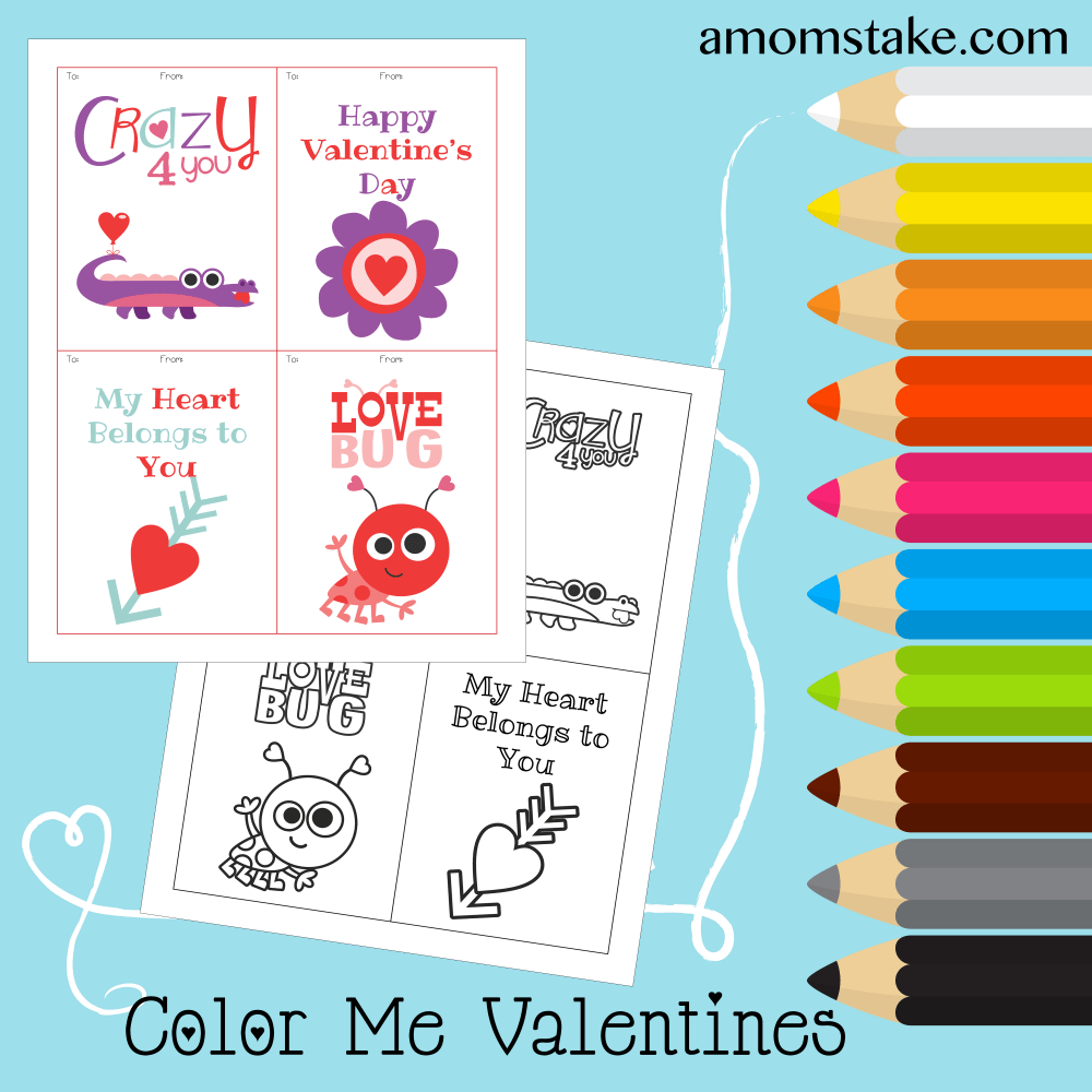 Color Me Valentine Printables plus a pre-colored version you can print and share!