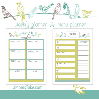 Menu and Weekly Planners Printables