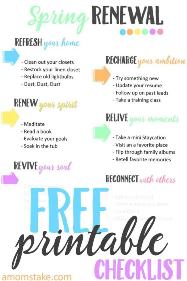 Get ready for spring with this fun checklist that goes beyond basic spring cleaning for renewing and refreshing your focus for spring! Free printable checklist that's so simple and fun!