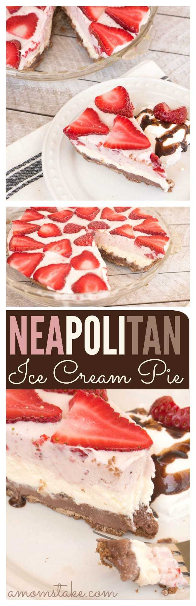 Yummy, yummy! You'll find layers of chocolate, vanilla, and strawberry ice cream - and a few surprises - in this perfect summer dessert, an easy homemade Neapolitan Ice Cream Pie recipe.