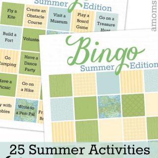 Summer Activities Bingo Game