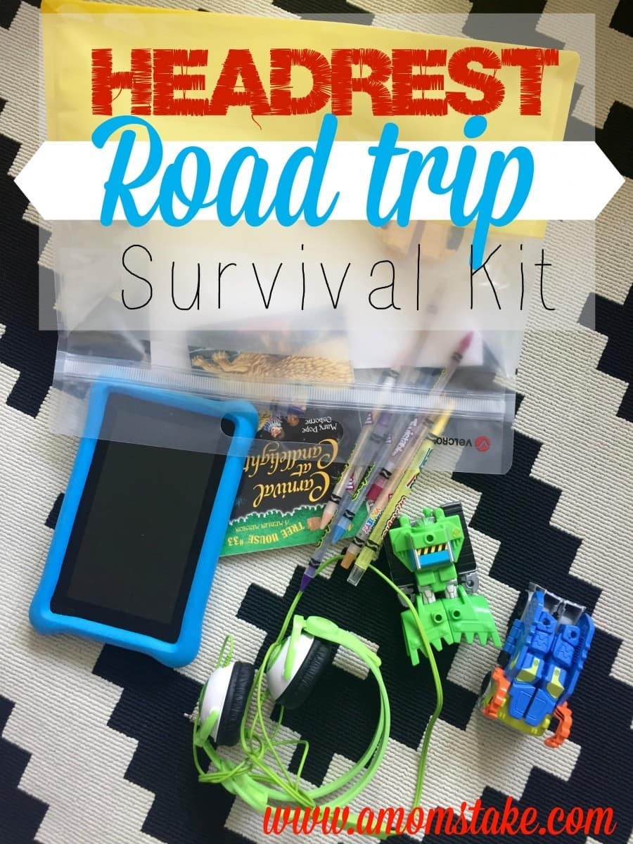 Road trip survival kit for families -- create a diy headrest kit to equip your kids with the entertainment in their reach. Travel tips and tricks for your family vacation. #roadtrip #familytravel