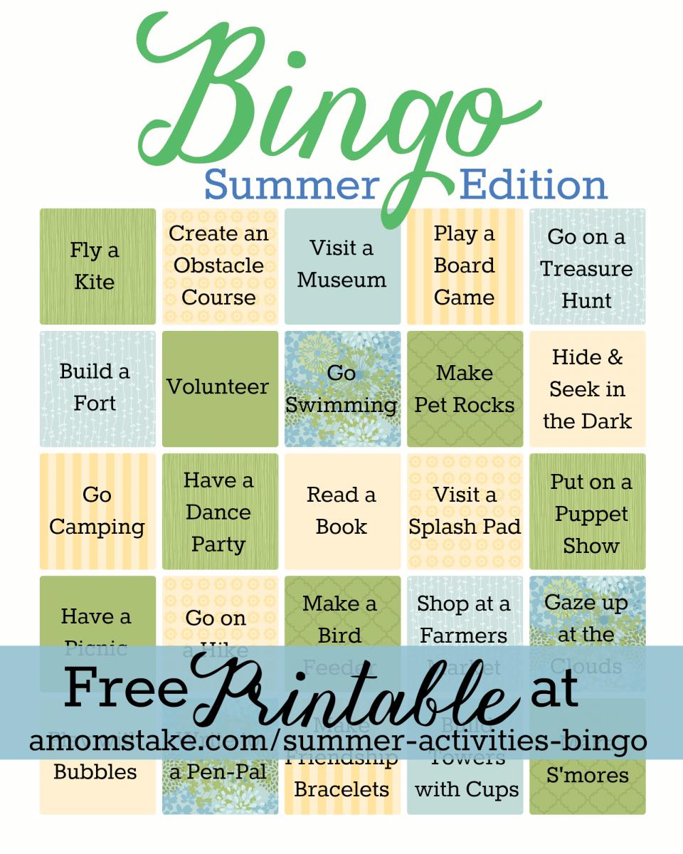 Summer Activities Bingo Game - A Mom's Take