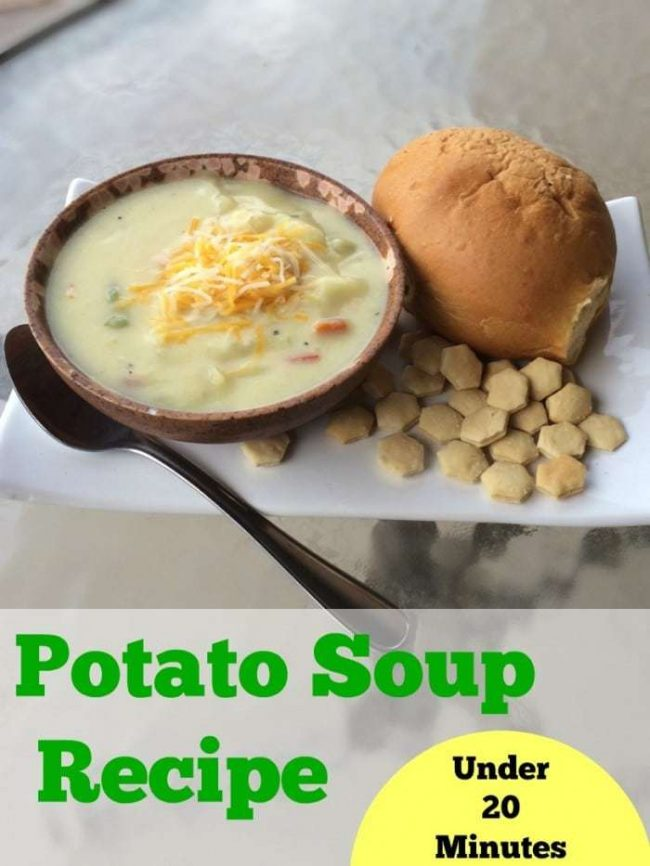 This is a delicious Weight Watchers friendly Potato Soup recipe that you can make in under 20 minutes! I keep the ingredients on hand for any quick dinner need!