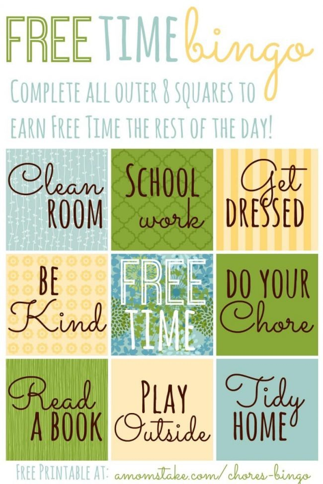 Summer Routine Free Time Bingo Printable  A MomS Take