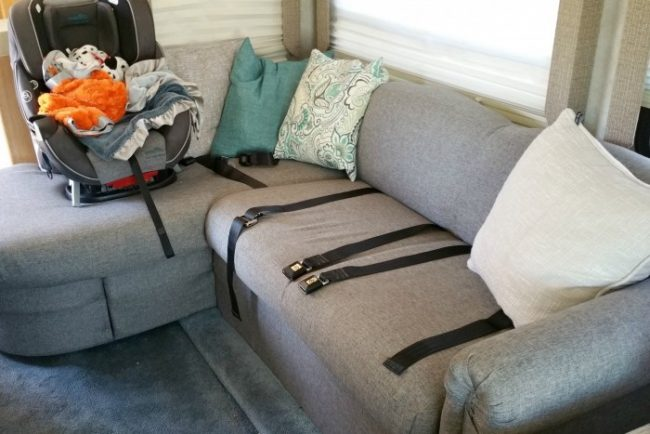 Reupholstered RV couch makes a huge update to your motorhome for very little expense!