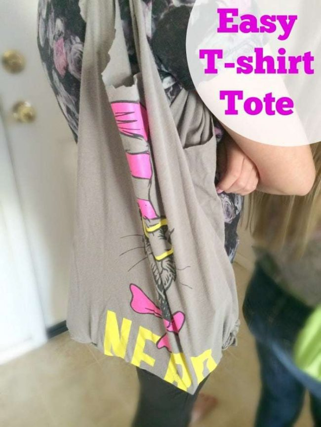 Easy and fun kid craft! DIY T-shirt tote bag made from a recycled t-shirt is kid-friendly and made in about 30 minutes. This was a fun family activity. We use these tote bags for everything now!