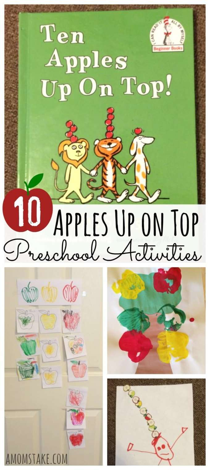10 Apples Up on Top Preschool Activities - crafts, recipes, kids activities, and fun ideas for your prek or kindergarten child. Perfect for paring with a read-aloud of this Dr. Seuss classic. Plus, a free printable activity!