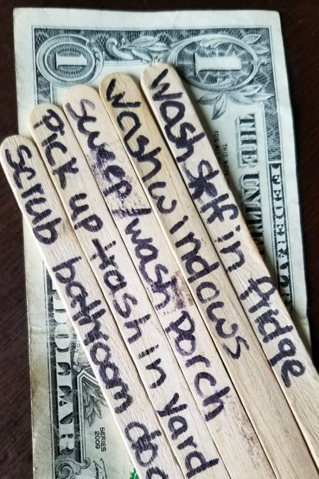 Chore popsicle sticks