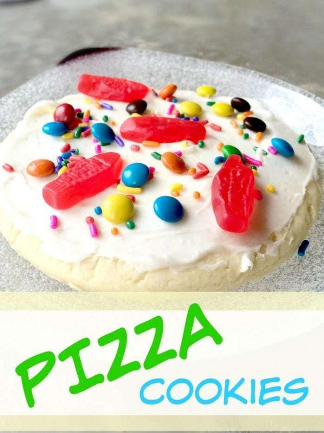 Delicious! Giant pizza cookies that are quick and easy to make and sure to be a hit at any party! Make a pizza toppings bar and create a variety of cookie pizzas! Best sugar cookie recipe included!