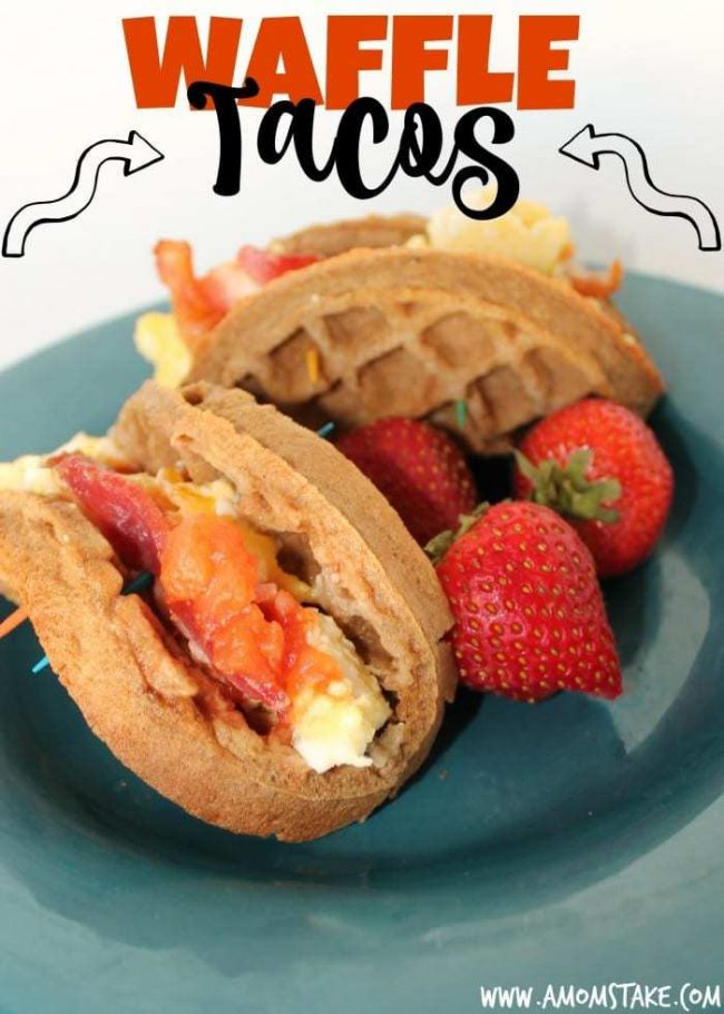 This is my go-to easy breakfast recipe! Just your favorite breakfast foods like eggs, sausage, bacon, cheese - whatever you love - crammed inside a tasty waffle! It's so fast and yet filling and healthy! Seriously, you've got to try to make these Breakfast Waffle Tacos! Such a kid-friendly option!