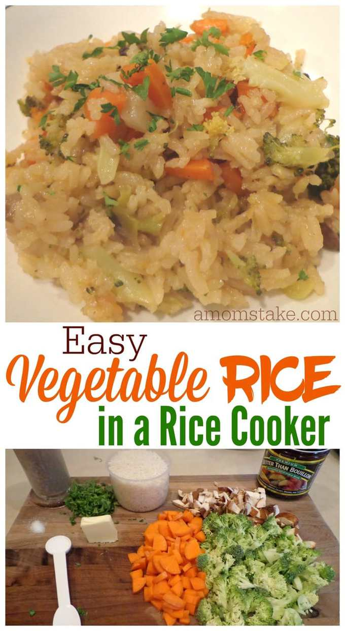 So easy this vegetable rice recipe is all cooked in your rice cooker, so no extra dishes needed! Hooray for a one pot dinner meal that cooks itself!