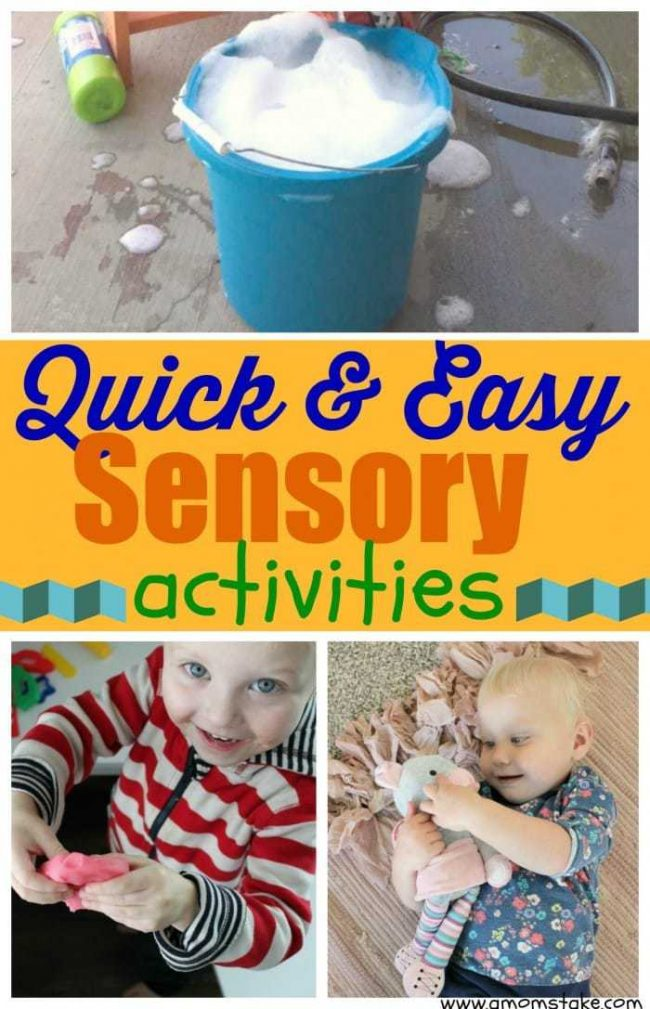 5 Quick & Easy Sensory Activities - these fun, engaging ways to play with your kids and get them using their senses will provide hours of fun. Your kidsl be learning while they play. with these cheap activities!: