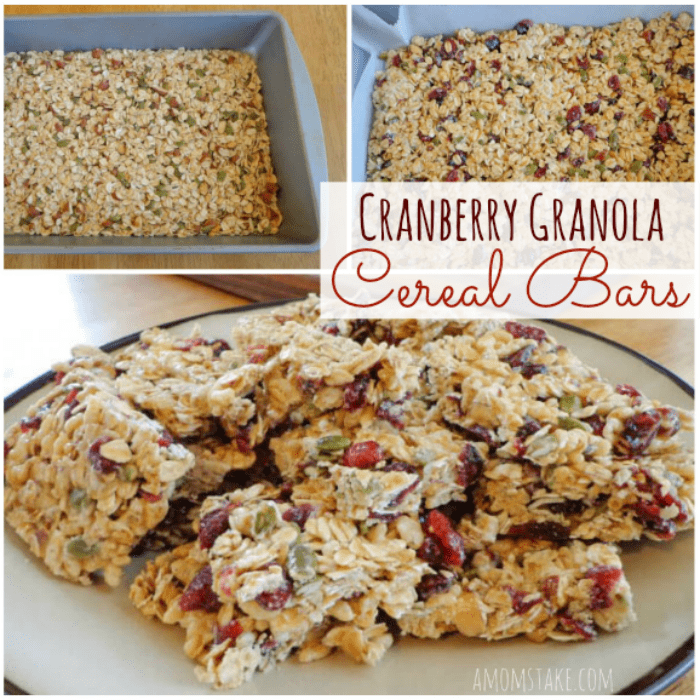 Cranberry Granola Cereal Bars are going to be a hit for breakfast or afternoon snack! This kid friendly recipe is healthy and nutritious.