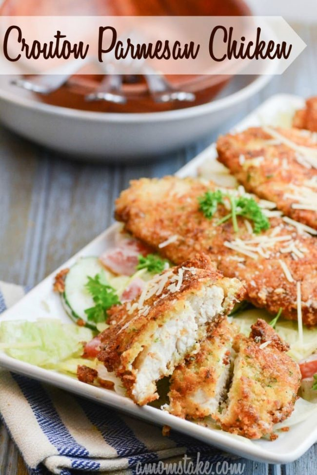 Croutons and Paremsan combine for an amazing and so easy dinner recipe you're family will crave! Crouton Parmesan crusted Chicken!