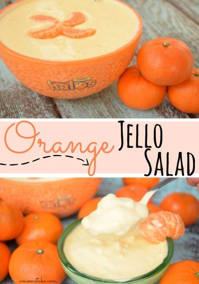 Fast, easy, 4 ingredient Orange Jello Salad, perfect for picnics, gatherings, and get-togethers or just for a quick afternoon snack!