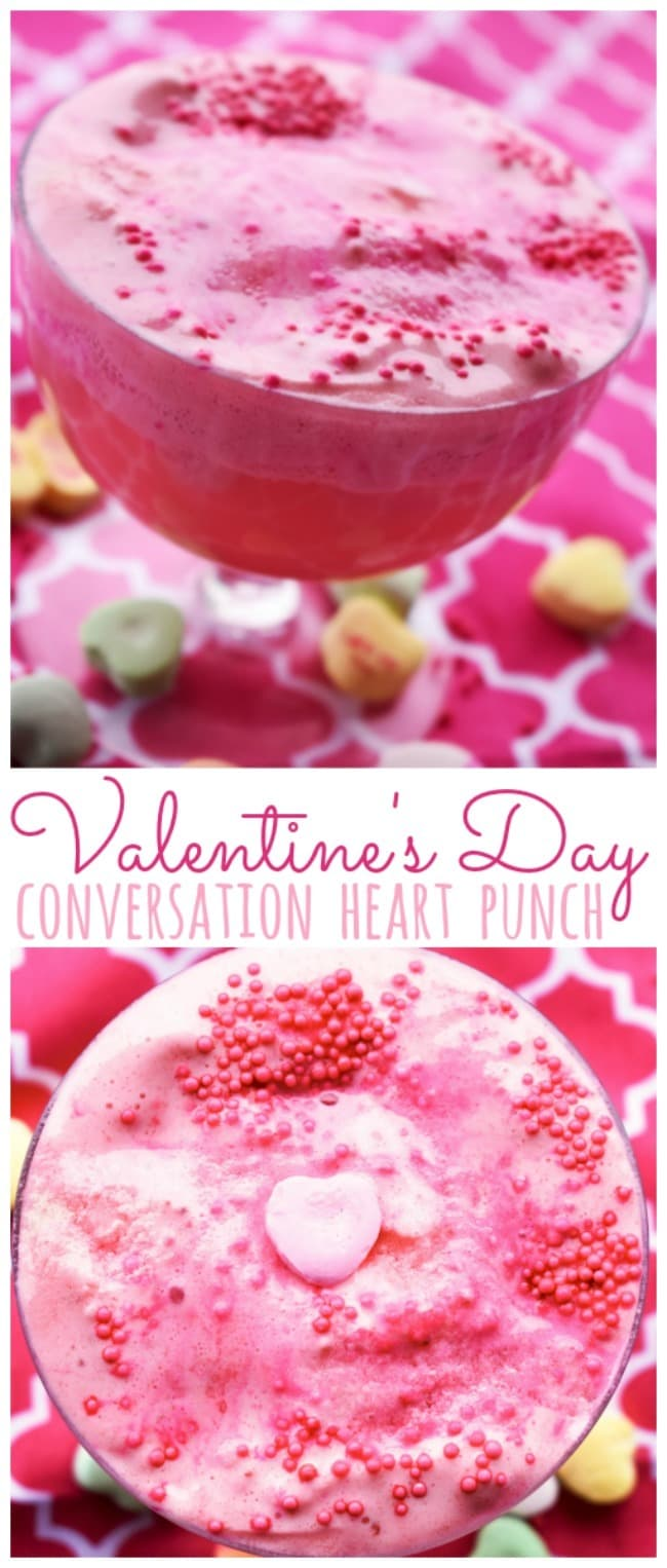 Conversation Heart Sherbet Punch Recipe a sweet valentine's day punch that's completely kid-friendly and non-alcoholic!