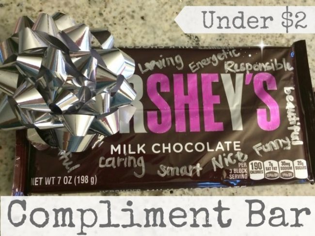 Give a Compliment Bar as a thank you or to brighten someone's day. It costs under $2 and takes 5 minutes to put together.