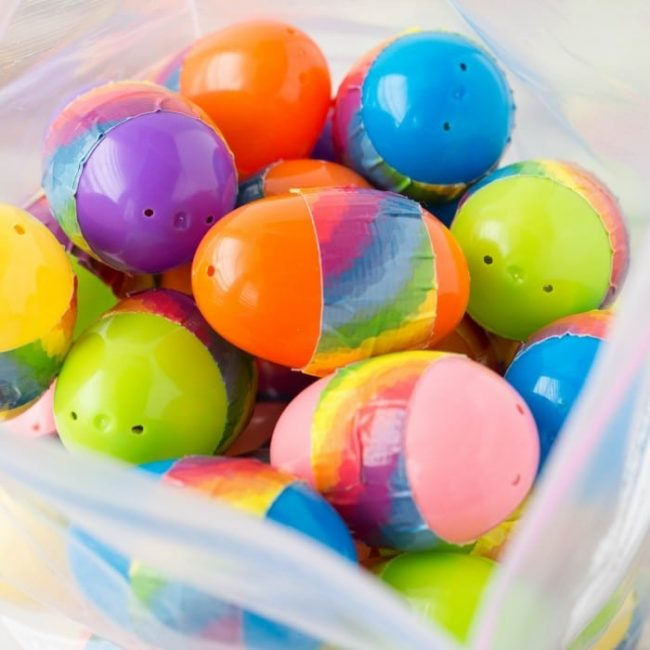 So easy to make in minutes - plastic Easter egg music shakers perfect for a LDS primary chorister or other music leader -- or even as a preschool music time kids activity!