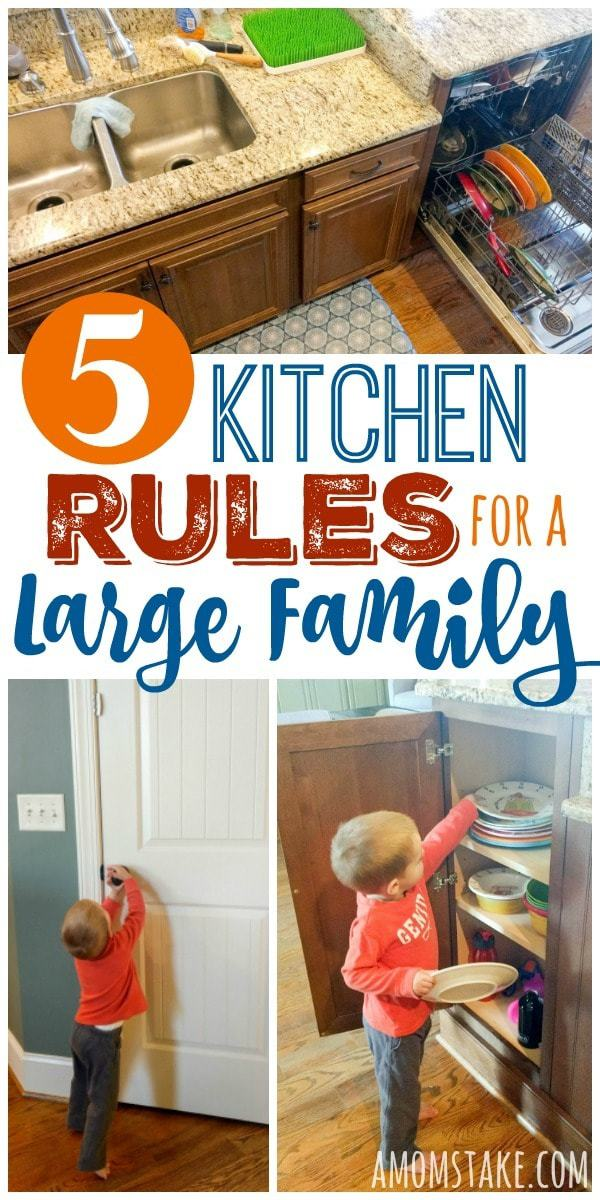 Stick to these 5 kitchen rules for a large family to help you manage the household chores and cleaning tasks!