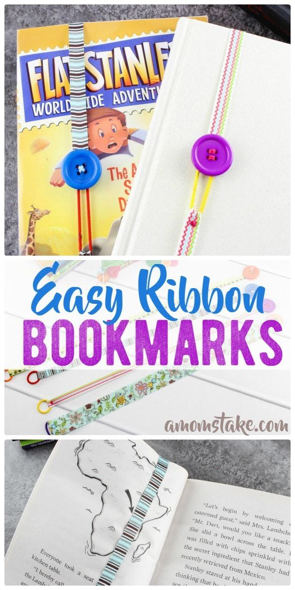 So cute and simple, make this ribbon bookmark in just minutes! You can make a dozen bookmarks for a couple of dollars! Easy craft or activity for kids, diy tutorial.
