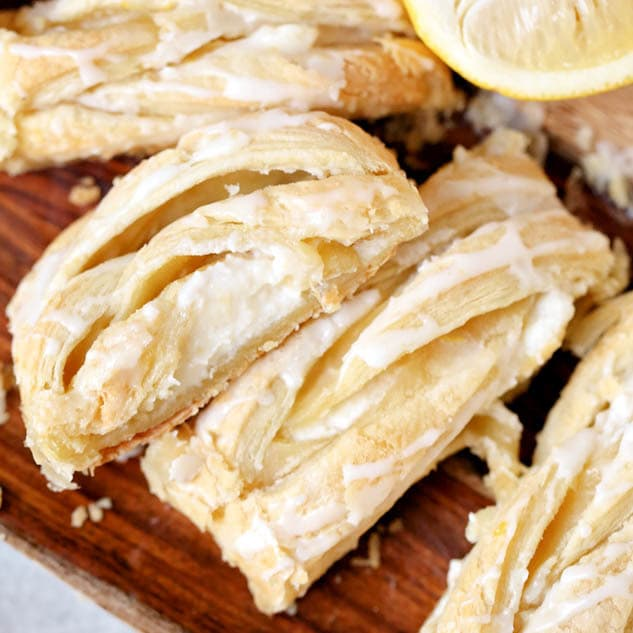 Easy Lemon Breakfast Danish with just 6 simple ingredients a sweet, cheese filled, hint of tart recipe that's perfect for a brunch or Easter gathering!