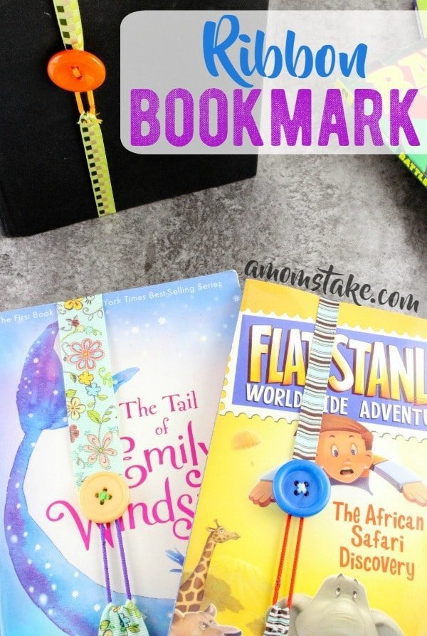 So cute and simple, make this ribbon bookmark in just minutes! You can make a dozen bookmarks for a couple of dollars! Great craft and activity for kids with this diy tutorial.