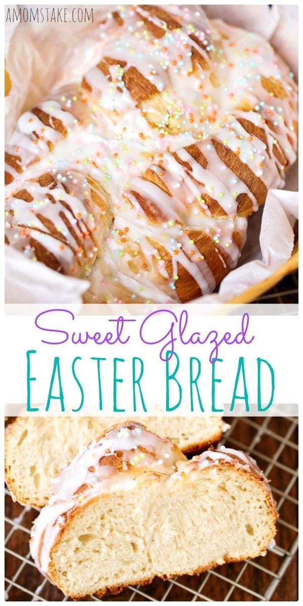 The sweet glazed topping and touch of sprinkles will make this delicious Easter bread a huge hit with your gathering. A perfect Easter side dish recipe.