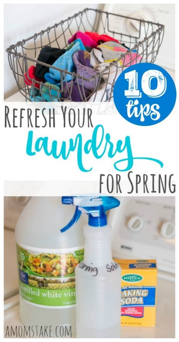 10 Tips to Refresh Your Laundry for Spring - these simple swaps and tricks can help make a huge difference in your laundry routine! Including a homemade washing machine cleaning solution for a clean washer and dryer!