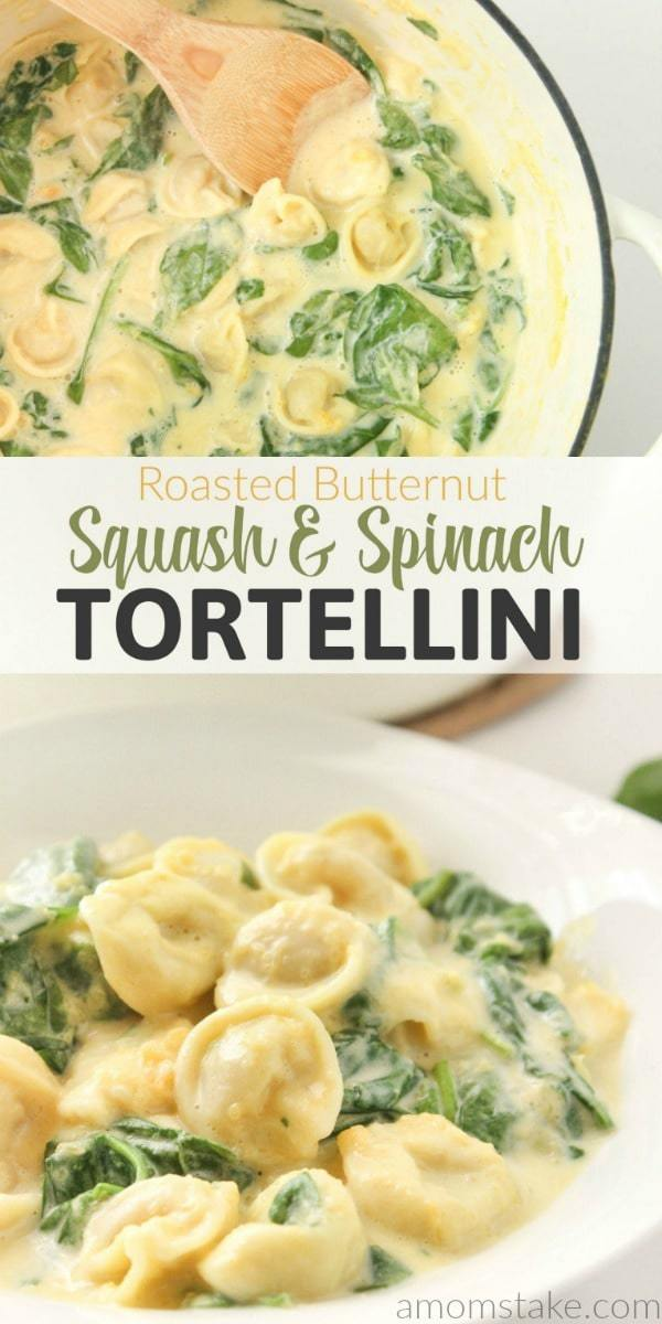 Creamy, healthy, vegetable packed pasta dinner can be on your table in no time! Try this Roasted Butternut Squash and Spinach Tortellini recipe that's creamy, cheese filled, easy, and delicious!