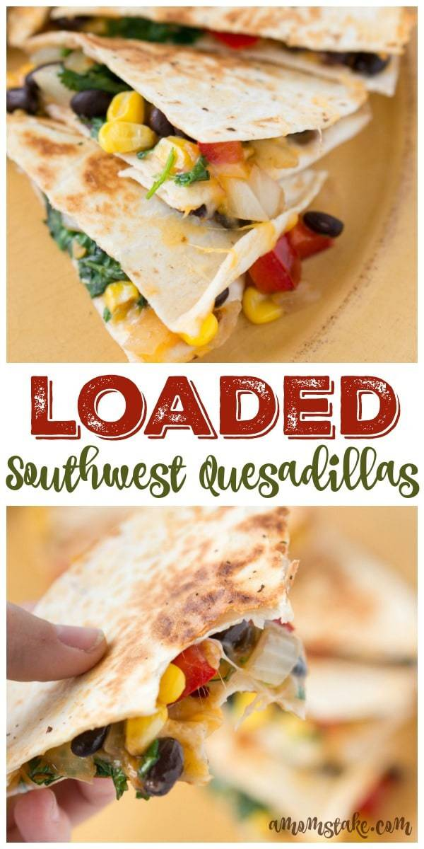 No more boring quesadillas! This southwest recipe is FULLY loaded! It is amazing, you'll never eat your quesadilla any other way. Topped with bell peppers, black beans, onions, corn, and cilantro! YUM!