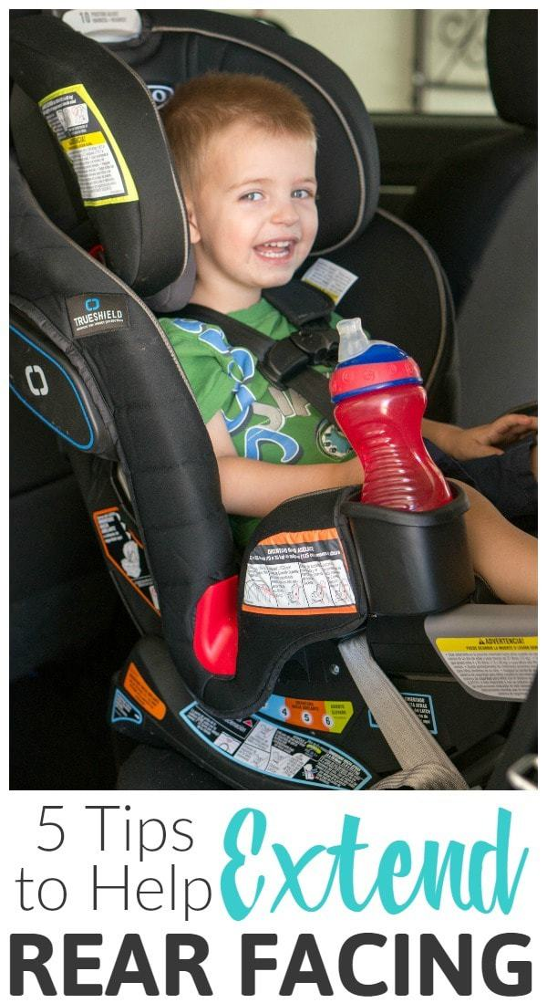 These 5 easy tips will help moms and dads keep your baby and toddlers rear facing longer! It's best to extend rear-facing in their car seat as long as the car seat limits allow to keep your children safe!