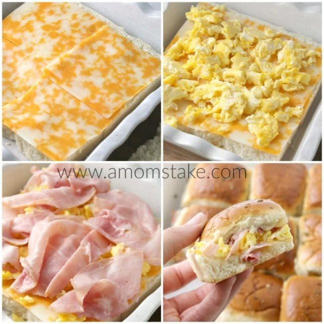 Easy egg ham and cheese breakfast sliders recipe. Make it the night before and just heat in the morning and it's ready to serve in just 10 minutes. Super simple breakfasts for families on the go or picky kids.