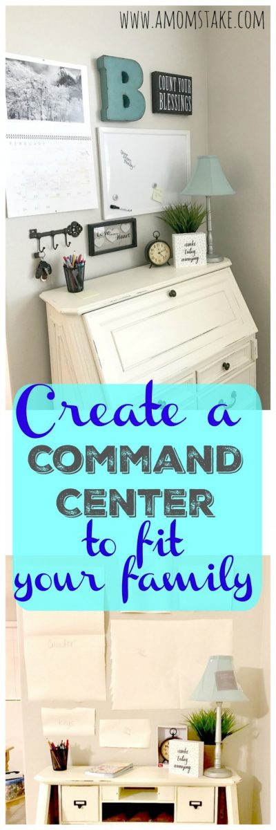 Try these 6 easy ideas to make a home command center that works for your family! Adapt the steps to fit your families needs and get organized. Your keys, paper pile and home organization will thank you!