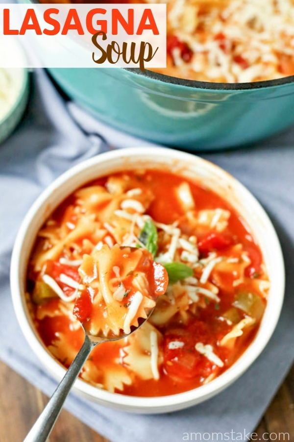 Try this Lasagna Soup for dinner! All the taste of a home cooked meal with an easy one pot no big mess recipe. One of our favorite soup dinners.