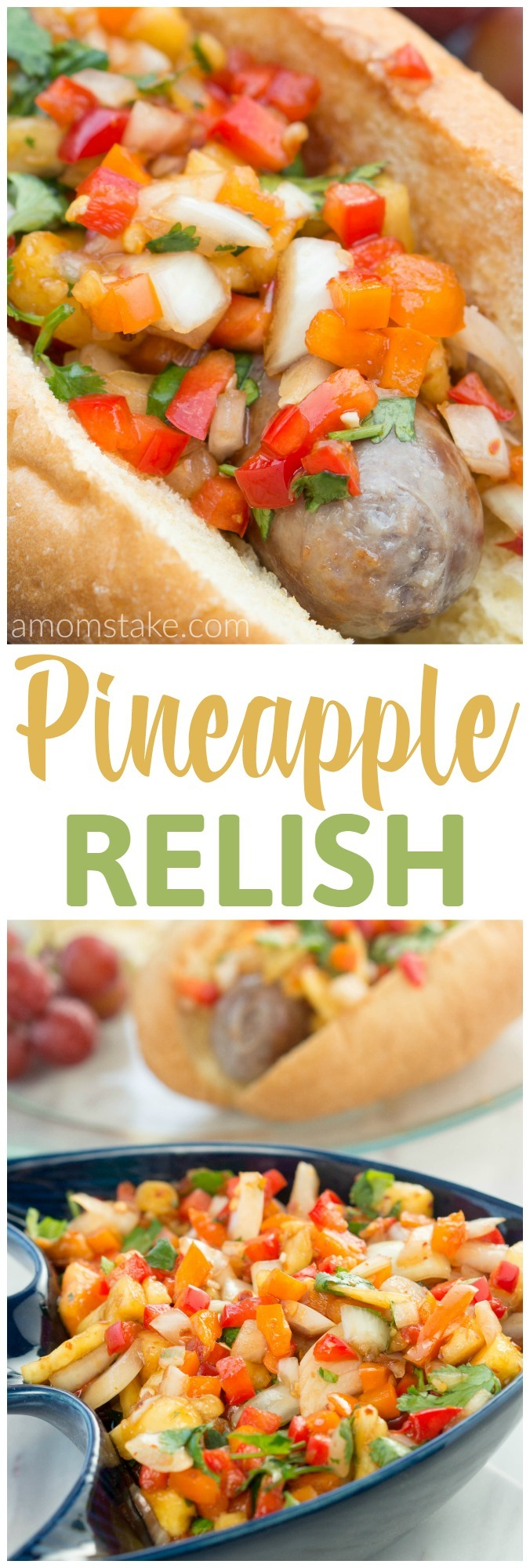 This pineapple relish will be the perfect garnish for all your favorite recipes! Serve it on top of brats, hamburgers, chicken, steak, or fish! Yummy side dish to add to your picnic or dinner recipes!