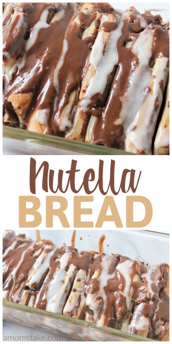 You are going to want to eat this nutella pull-apart bread for breakfast, brunch, and dinner (plus as a dessert). It's so yummy the perfect treat to bring to gatherings. Skip the canned dough, we'll make our own, sweeter, pull-apart bread dough and then top it with lots of nutella and a sweet cream glaze.