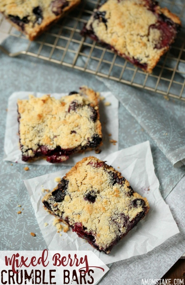 This warm dessert is perfect for summer and fall. These mixed berry crumble bars combine your favorite berries - add strawberries, blueberries, blackberries, and raspberries (or just your favorites) and top with yummy pie crumble layers!