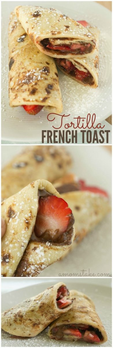 If you are looking for quick and simple for breakfast, this tortilla french toast recipe can't be beaten! Start your day off tasty!