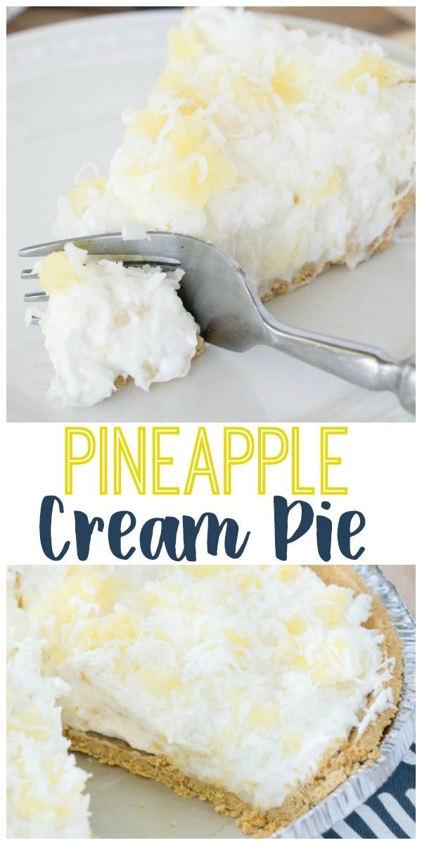 No-bake pineapple cream pie is a dream come true! You'll need just 6-ingredients and about 5 minutes for prep. #dessert #pie #pineapple #creampie