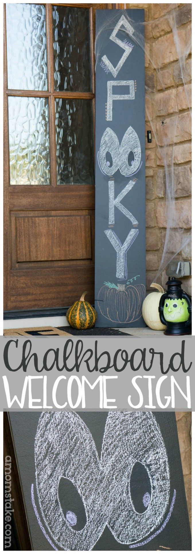 "Easy and inexpensive chalkboard welcome sign perfect for holidays like Christmas and Halloween with a friendly greeting to your guests. Personalize it with each season! Or make it double sided with a permanent ""welcome"" message on one side and customize chalkboard panel on the back. #holidays #diy #decorating #porch #decorations #halloween #fall #christmas"