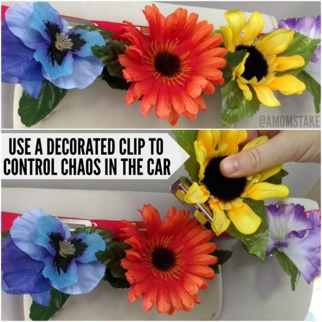Try this simple mom trick! Decorate some clips and then strap an elastic band around your visor. Clip those decorated clips right to the band and use them to cue your kids in the car of warnings, visually!