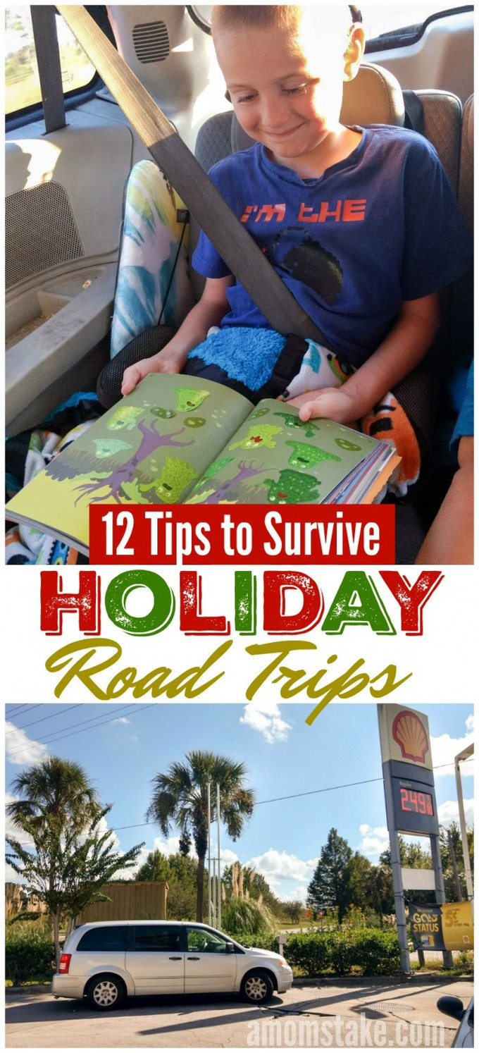 Tips and tricks to help you family survive holiday road trips! Wherever you're heading for Christmas travel, you'll be ready for your family trip with this ideas to keep the kids entertained. #familytravel #vacation #roadtrip #traveltips