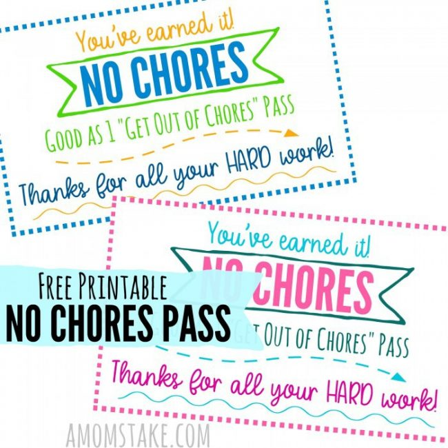 No Chores Pass printable