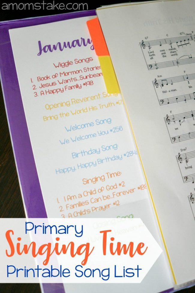 Primary Singing Time Song List - A resource for LDS music leader / chorister to help get organized for the year of songs! #LDS #Mormon #Primary #PrimaryChorister #PrimaryMusicLeader #Music #SingingTime #Printable