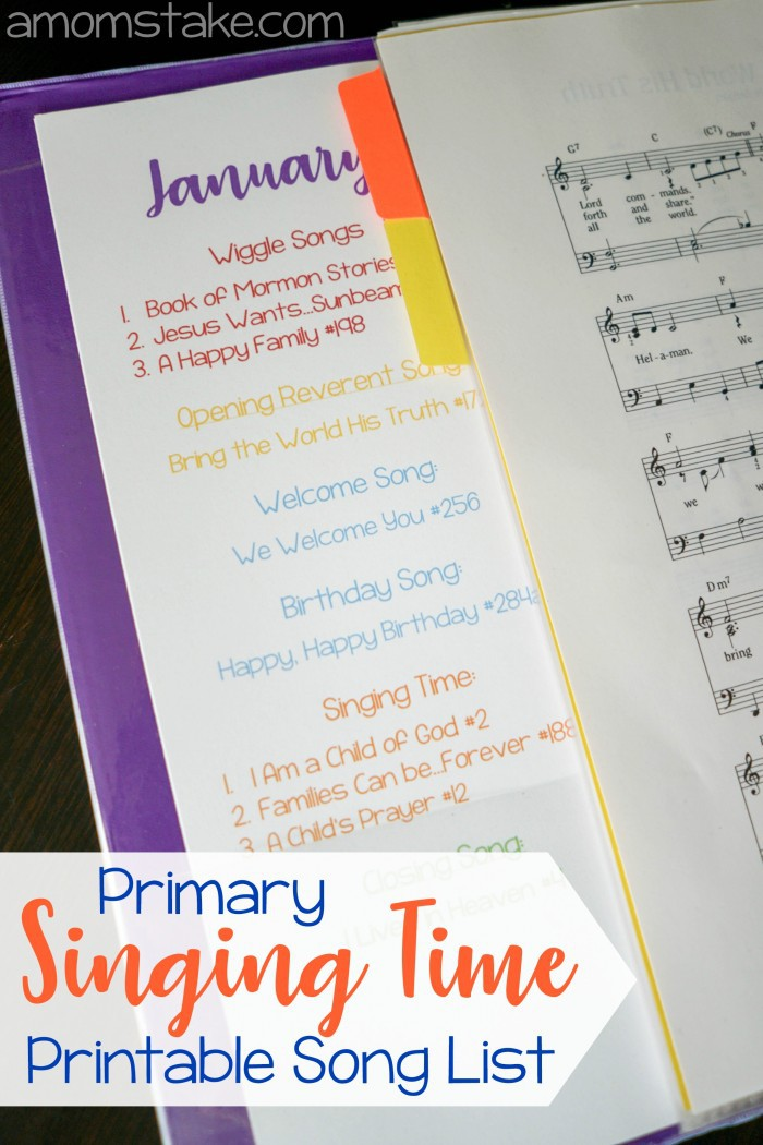 Singing Time Monthly Song List Printable - A Mom\'s Take