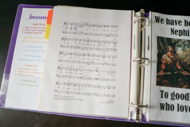 singing time binder for primary