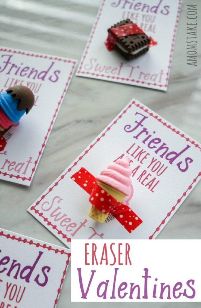 "Hand out these darling Eraser Valentines classroom valentine cards! The free printable card says, ""Friends Like You are a Real Sweet Treat"" just add 3D summer treat erasers and you're done! #ValentinesDay #Vday #ValentineCards #ValentinesCards #Printable #ValentinesGifts"