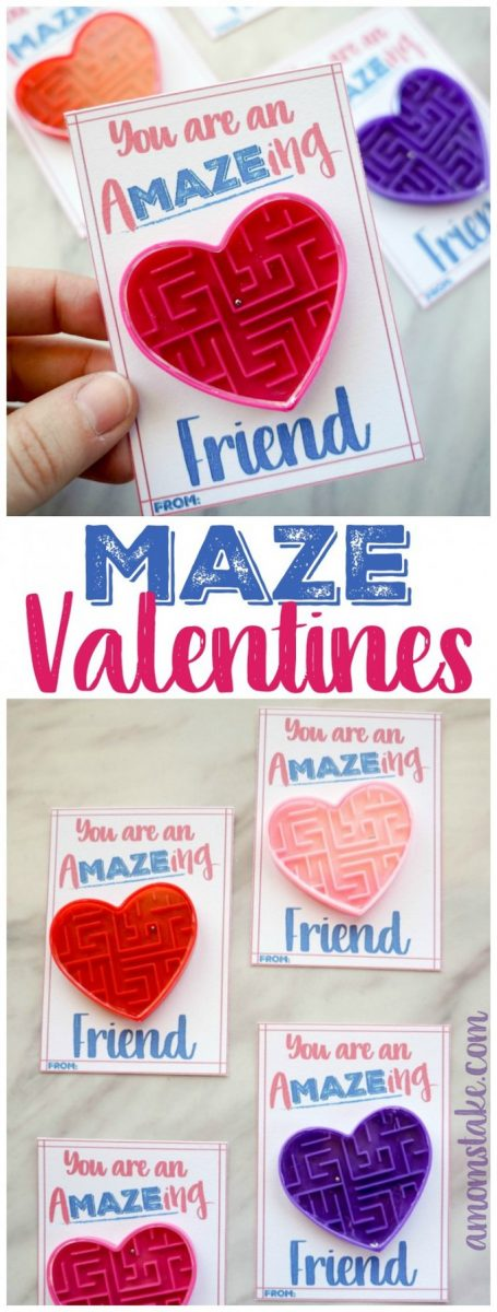 So cute! Maze Valentine Cards, a darling candy free valentines for the classroom! #valentines #valentinesday #vday #valentine #valentinecards #printable