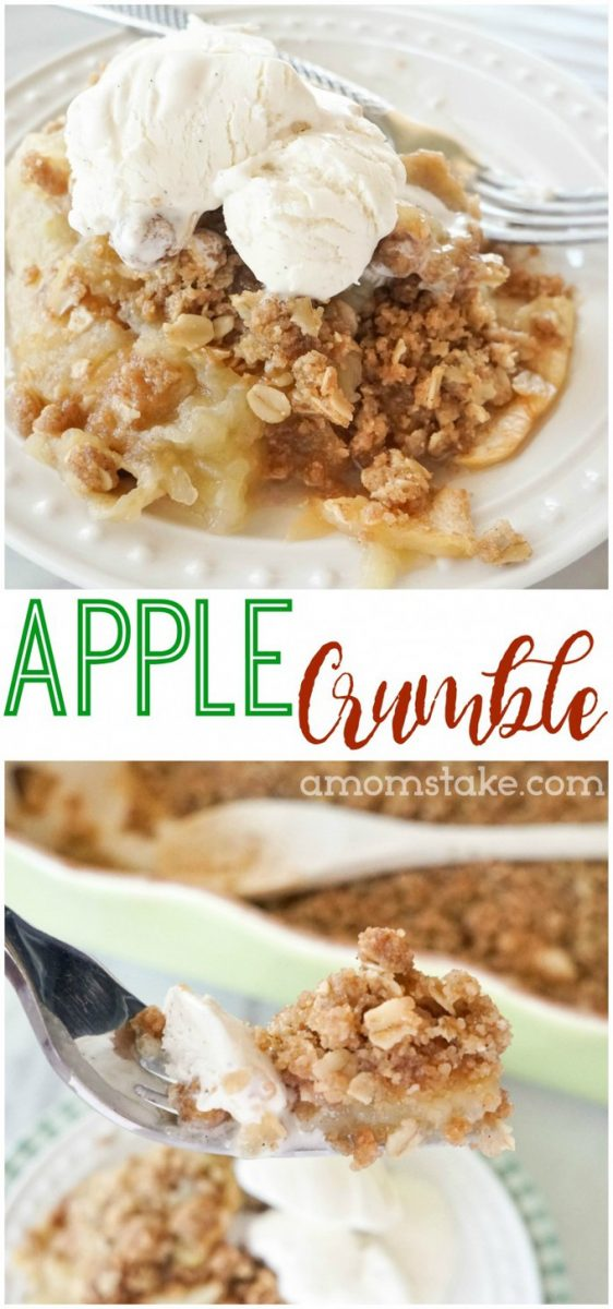 Easy apple crumble recipe (also called apple crisp)! So easy with just 6-ingredients and a little prep. A favorite twist on classic apple pie. Dessert recipes are the best! #apples #applepie #applecrisp #applecrumble #recipe #dessertrecipes